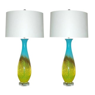 Italian Hand Blown Lamps in Yellow Blue