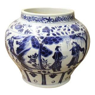 Chinese Blue White Porcelain People Scenery Fat Body Vase Jar