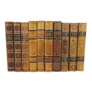 Art Deco Leather-Bound Books - Set of 10