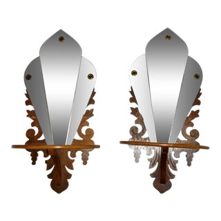 Scroll Products Art Deco Shelf Mirrors - a Pair