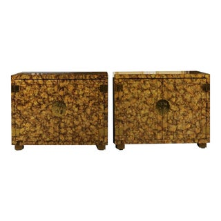 Restored Pair of Vintage Faux Tortoise Shell Cabinets by Henredon