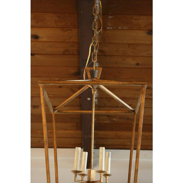 Gilded Iron Foyer Lantern Ceiling Light - Image 4 of 6