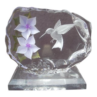 Hummingbird & Blossom Lucite Sculpture