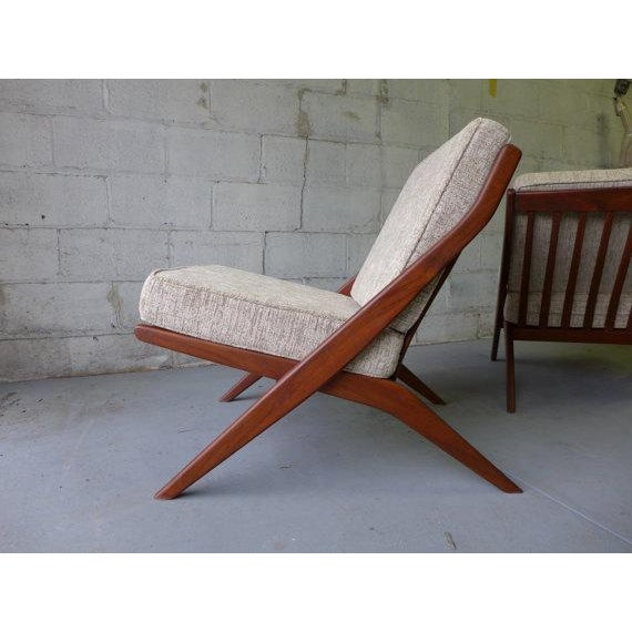 Mid Century Modern Scissor Lounge Chairs - Pair - Image 4 of 6