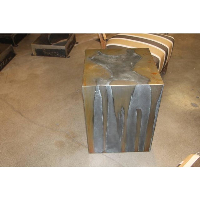Image of Zinc and Metal Cube Table or Pedestal