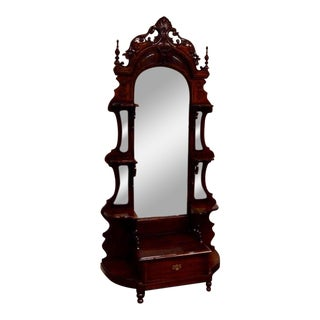 Solid Mahogany Carved Hall Etagere