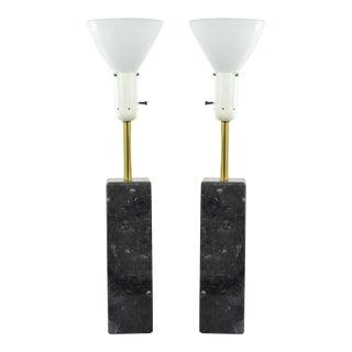 Nessen Studios Black Marble Lamps - A Pair