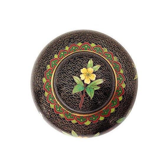 Black Cloisonné Ginger Jar - Image 2 of 3