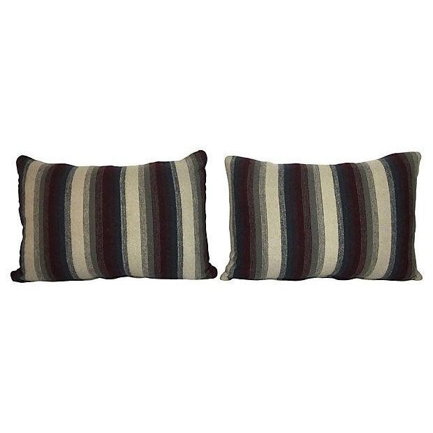 Repurposed Wool Blanket Lumbar Pillows - A Pair - Image 1 of 6