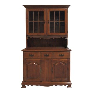 Vintage Maple Chippendale Carved China Cabinet