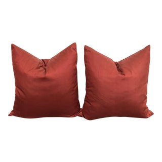 Pottery Barn Red Silk Pillows - A Pair