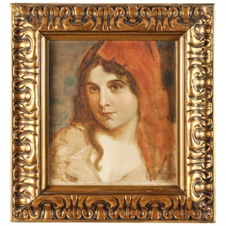 Antique Oil Portrait of a Woman