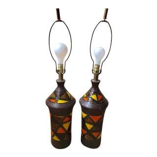 Aldo Londi Bitossi Ceramic Lamps - A Pair