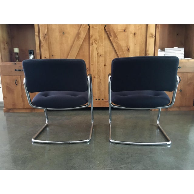 Mid-Century Cantilever Chrome Armchairs - A Pair - Image 7 of 9