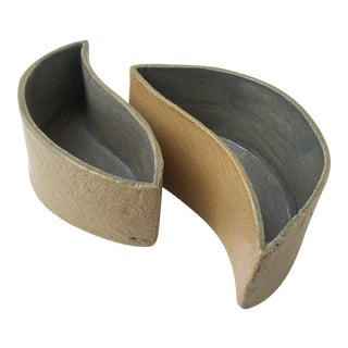 Studio Pottery Yin Yang Style Planters - A Pair