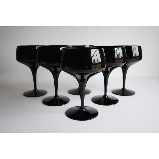 Mid-Century Black Cocktail Glasses - Set of 6 - Image 2 of 4