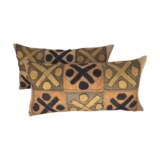 African Kuba Cloth Pillows- A Pair - Image 1 of 7