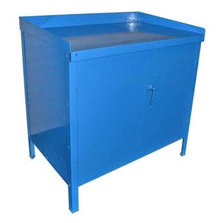 Mid-Century Steel Industrial Cabinet in Blue