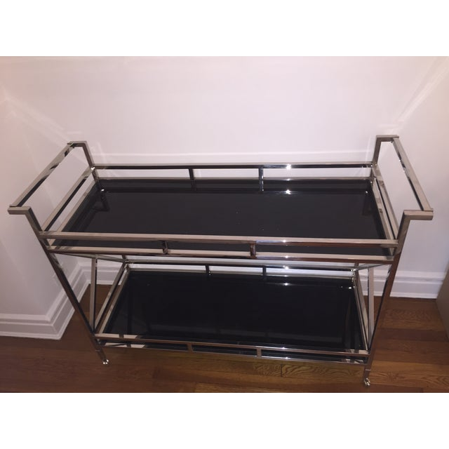 Silver and Black Glass Contemporary Console Table - Image 3 of 5