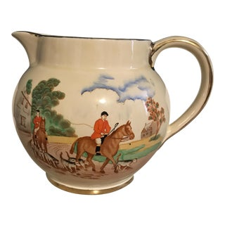 A Vintage English Milk Pitcher With a Traditional Hunting Scene