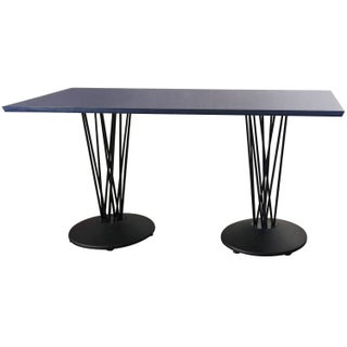 Blue Marquette Double Pedestal Table