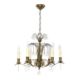 Mid-Century Brass and Crystal Six Light Chandelier