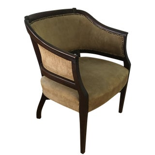 Taupe Suede Barrel Back Armchair