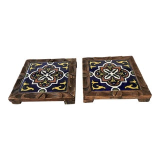 Mission Style Mexican Wood & Tile Trivets - a Pair