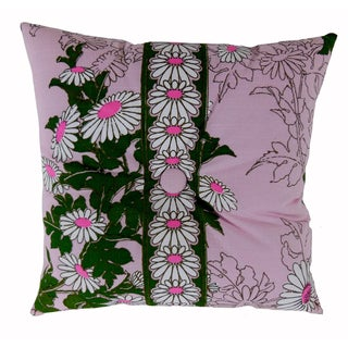 Vintage Alfred Shaheen Pink Daisy Print Pillow