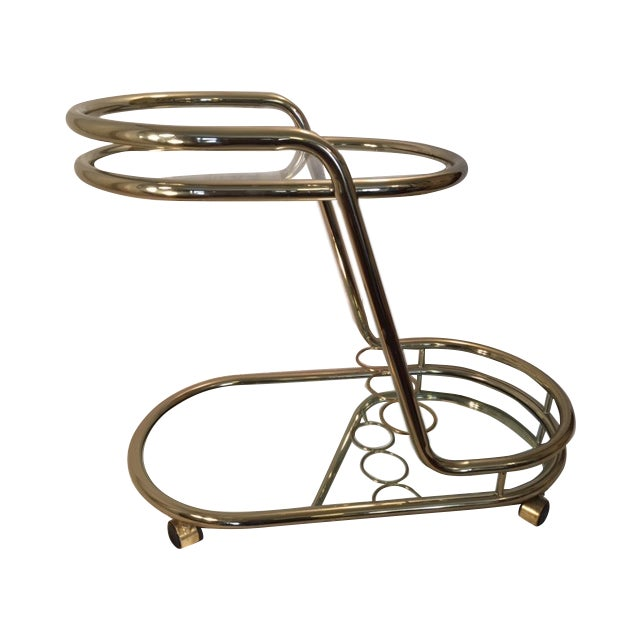 Mid-Century Modern Gold-Toned Bar Cart - Image 1 of 8