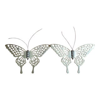 Contemporary Silver Brass Butterflies - A Pair