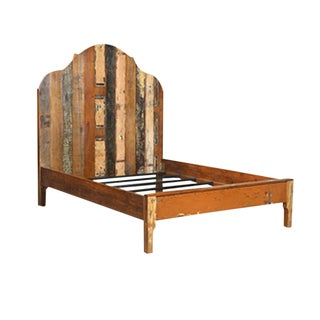 Rustic Distressed Painted Wood King Bed