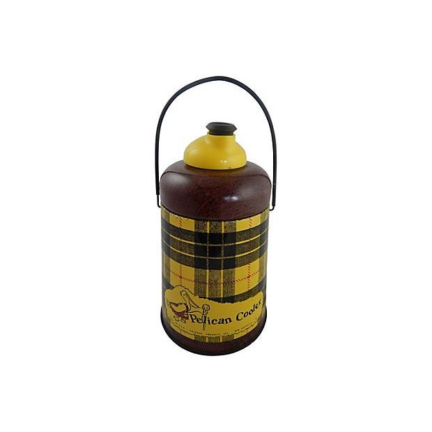 1950s Yellow Plaid Pelican Beverage Cooler - Image 1 of 5