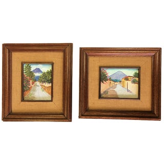 Mexican Volcano Oil Paintings - A Pair