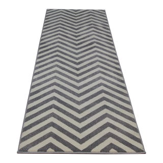 Gray Chevron Rug - 10 Fet Runner Rug