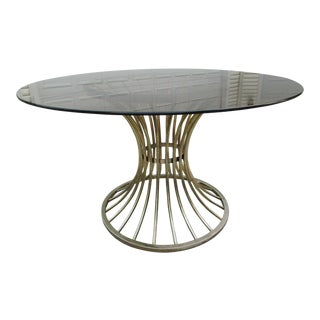 Warren Platner Style Dining Table -Smoked Glass Top