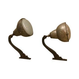 Antique Art Deco Spotlights or Flood Lamps - Pair