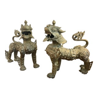 Large Brass Gilt Foo Dogs, Armored Lion Temple Guardians of 20th Century - A Pair