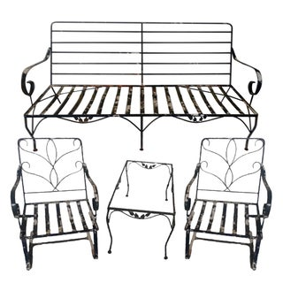 Vintage Wrought Iron Outdoor Furniture - Set of 4