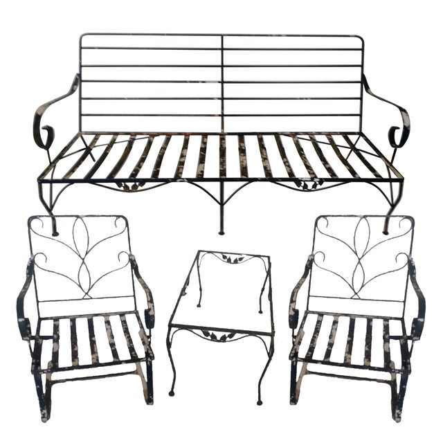 Image of Vintage Wrought Iron Outdoor Furniture - Set of 4