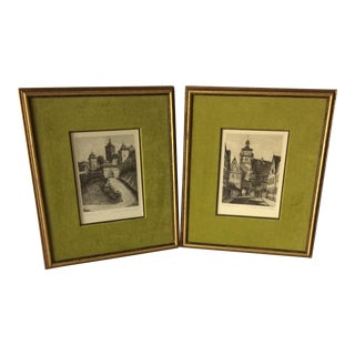 "Two Signed 1960's Etchings By Ernest Geissendorfer ""Rothenburg Tower and Bridge"" Rothenburg, Germany"