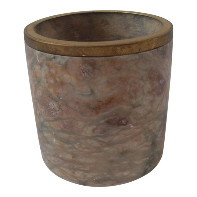Mid-Century Style Carved Marble & Brass Container - Image 1 of 4