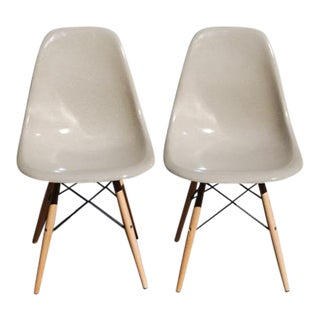 Herman Miller Eames Fiberglass Shell Side Chairs - A Pair