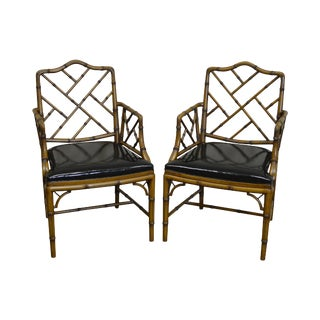 Chinese Chippendale Style Vintage Faux Bamboo Arm Chairs - A Pair