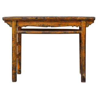 Distressed Orange Chinese Rustic Table