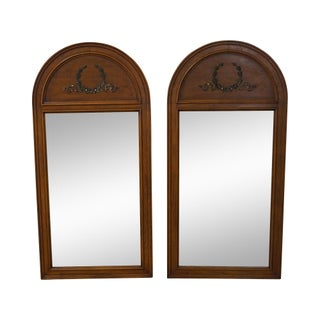 Henredon French Walnut Arch Top Tombstone Mirrors - Pair
