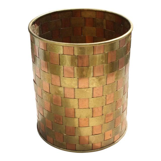 Vintage brass and copper basketweave planter wastebasket chairish - Copper wastebasket ...