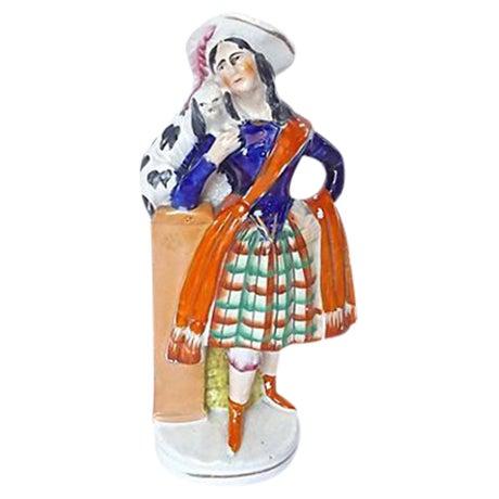Antique English Staffordshire Woman & Dog Figurine - Image 1 of 5