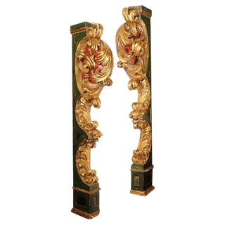 Pair of Italian Paint and Giltwood Architectural Carvings