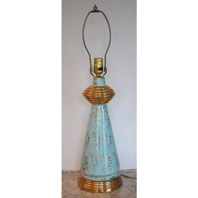 Mid-Century Turquoise & Gold Lamp - Image 2 of 4